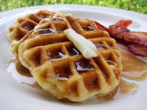 Waffles with butter and bacon