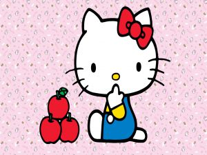 Hello Kitty with three apples