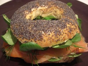 Bagels with salmon with dill and spinach