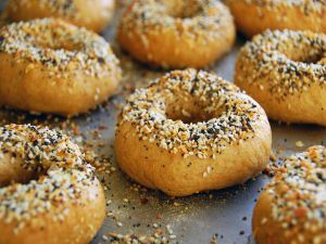 Bagels with sesame and poppy seeds