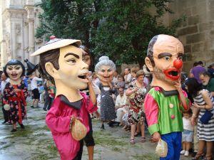 Cabezudos in the streets of Granada, Spain