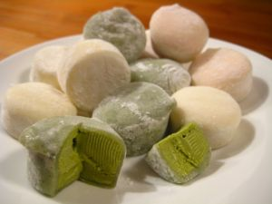 Mochi ice creams (green tea, vanilla and strawberry)