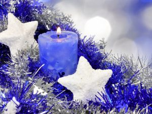 Christmas blue candle