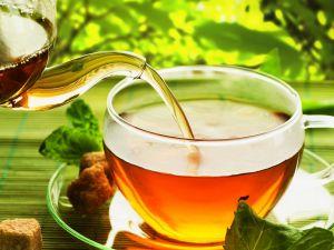 Serving a freshly prepared tea