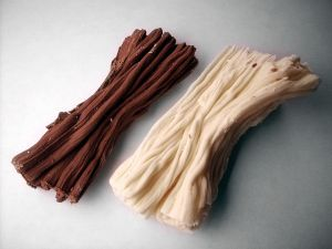 Strips of black and white chocolate