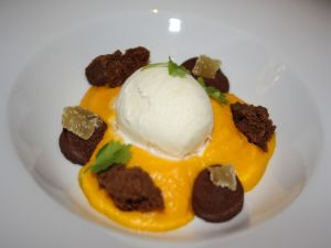 Ice cream with chocolate, carrot, ginger and coriander