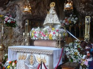 Virgin of Covadonga in his cave (Asturias, Spain)