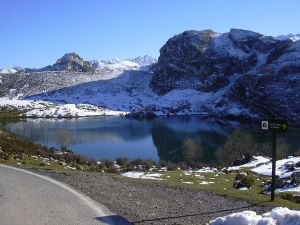 Lake Enol in Asturias, Spain