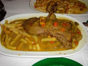 Venison stew with chips