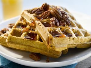 Waffles with honey and pecans