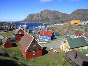 Town of Sisimiut in Greenland