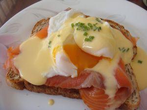 Toast with smoked salmon and egg benedictine