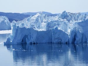 Icebergs floating (Greenland)