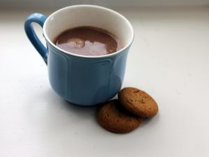 Cup of chocolate and biscuits