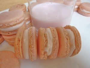 Glass of milk and macarons