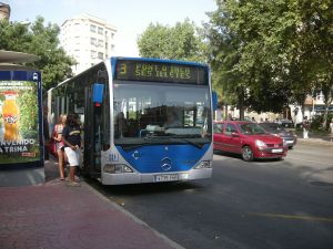 Bus at Plaza del Progreso, Palma de Mallorca (Spain)