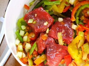 Meat marinated with peppers and other vegetables