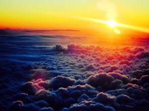 Sun above a sea of clouds