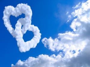 Two hearts of clouds interlaced