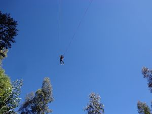 Hanging from two ropes
