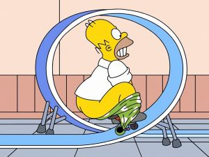Homer Simpson doing stunts