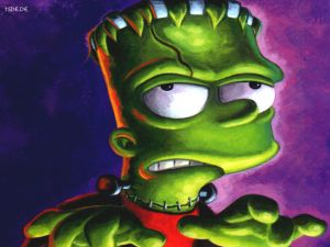 Bart Simpson characterized of Frankenstein