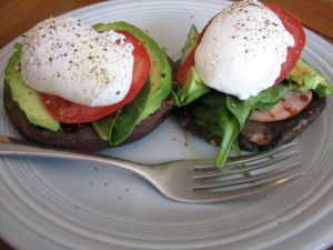 Poached egg with tomato, avocado and mushroom