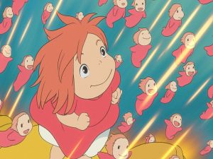 Ponyo and her sisters swimming towards the surface