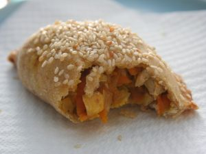 Empanadilla stuffed with chicken and vegetables