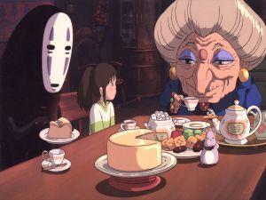 Chihiro in Zeniba's home, Yubaba's twin sister