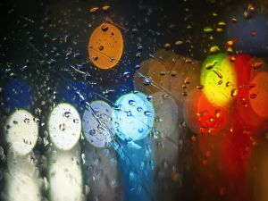 Rain drops on a glass