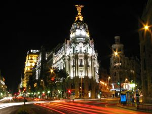 Night at the Gran Via in Madrid, Spain