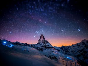 Starry sky over the mountains