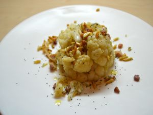 Cauliflower with nuts and poppy seeds