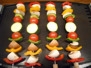 Skewers of vegetables ready to cook