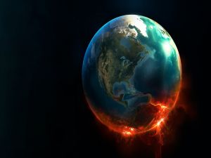 The Earth in flames
