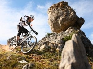 Mountain bike between large stones