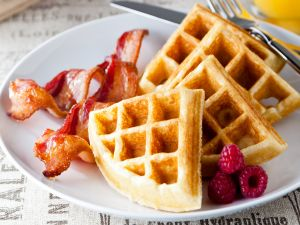 Waffles with bacon and fresh raspberries