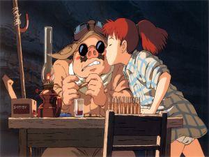 Fio Piccolo kissing to Porco Rosso