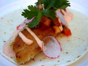 Fish fillet in a corn tortilla