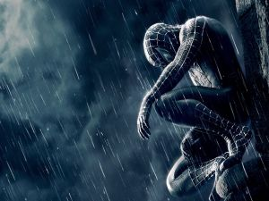 Spiderman under the rain