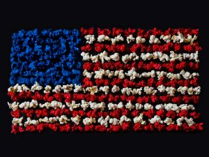 USA flag formed with colored popcorns