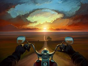 By motorbike by a lonely landscape