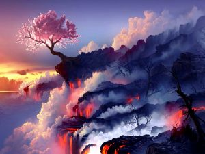 Cherry tree lonely on a sea of ​​lava