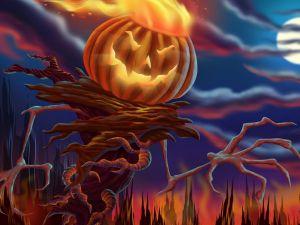 Devilish pumpkin in Halloween
