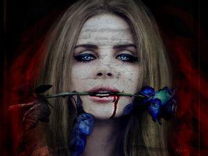 Biting a blue rose