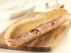 Bocadillo with cooked ham and coleslaw