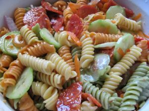 Colorful pasta in salad