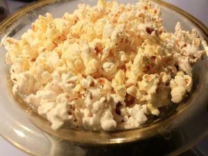 Dish with popcorn