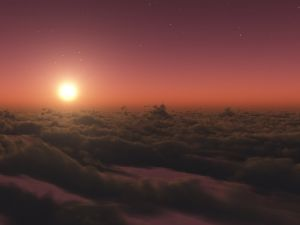 Starry sky with the sun above the clouds